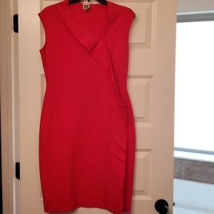Anne Klein red stretch knit dress